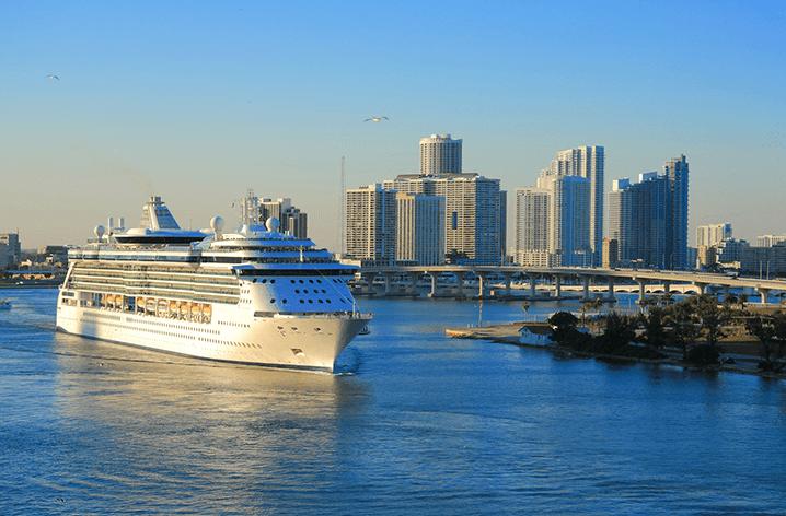 Cruise ship in Miami Harbor
